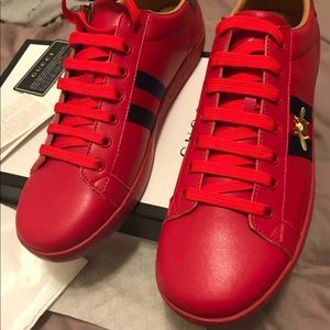 Men Red Gucci Ace Shoes